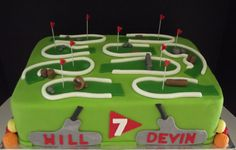 Mini-putt golf cake complete with edible putters