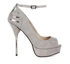 Grey suede cut-out heel