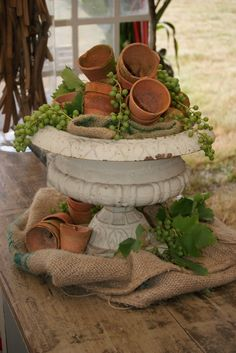 This is cute--and it doesn't even have any plants in it....just grapes and clay pots.