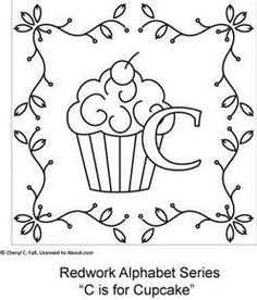 cupcak, embroidery patterns, embroideri pattern, needlework, embroideri idea, embroideri pic, alphabet letters, alphabet embroideri, free redwork