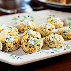 Mini Corn Bread Crab Cakes with Lemon-Caper Sauce | MyRecipes.com