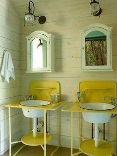 vintage designs, beaches, beach cottages, color, bathrooms, camps, bathroom designs, sink, vintage style