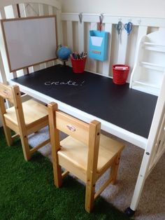 Turn an old crib into a kids desk #DIY
