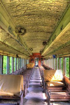 Inside an abandond Delaware Lackawanna & Western passenger coach near Kingston, N.Y.