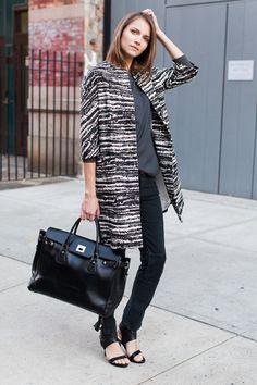 Graffiti Coat - Abstract Black / Drop Sleeve Shirt - Slate / Mick Pant - Coal Denim / Emerson Big Black Bag / Italian Cuff Heel - Black