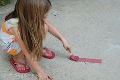 Easy peasy sidewalk chalk paint.