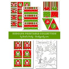 """Free """"Rudolph"""" Christmas Party Printables Set"""
