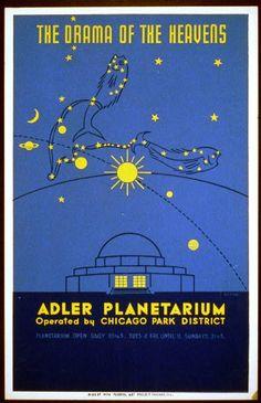 vintage posters, chicago poster, heaven, poster art, art print, drama, adler planetarium, wpa poster, design