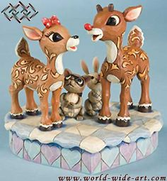 Rudolph the Red-Nosed Reindeer - Rudolph and Clarice Figurine - Jim Shore - World-Wide-Art.com