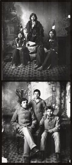 Three Lakota boys before and after their admission to the Carlisle Indian Boarding School. ca. 1880s?