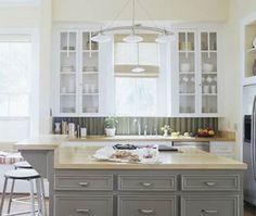 kitchens, cabinet colors, kitchen colors, metal backsplash, hous, corrug metal, backsplash idea, kitchen islands, kitchen cabinets