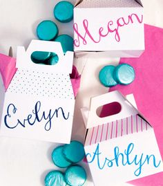 Customized Free Printable Hand Lettered Favor Boxes