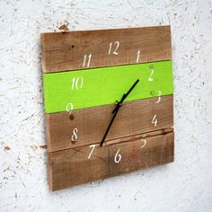 reclaim wood, mexico city, color, the office, neon green, patio, clocks, blues, wood clock