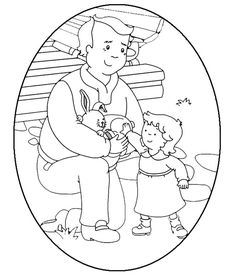 Grandpa & Rosie Egg-Shaped Coloring Sheet