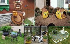Creative tire playground animals