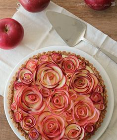 Apple Rose Tart with Maple Custard and Walnut Crust cake, rose, custard, tart, food, walnut, apples, dessert, apple pies
