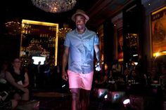 Captain Clyde Simms walks the runway at the Ted Baker fashion show to support America SCORES Boston