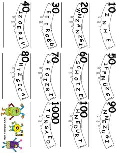 FREE ~ Number Word Scramble ~ German Printouts For Kids ~ Available in Spanish, French, Italian, English & German ~ FREE