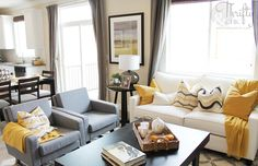 yellow, grey and white living room decor ideas color schemes