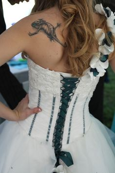 Lace up back with a beautiful green fabric lace up back wedding dress, wedding dressses, corset lace wedding dress, gown, tattoo