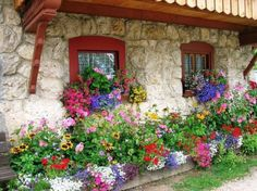 colorful flowers, stone cottages, cottage gardens, colors, dream garden, flower bed, flowers garden, flowersgarden, window boxes