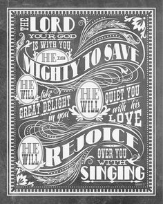 8x10 art print - Mighty To Save - Grey Chalkboard / Blackboard Look, Typography Poster Print - Zephaniah Scripture Bible Verse. $17.00, via Etsy.