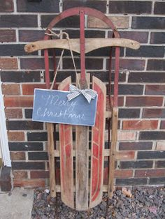 My take on front door sled decor....wooden sign, chalk, and jute string