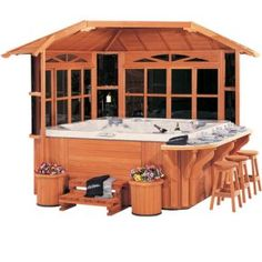 The Northeast Gazebo provides the perfect balance of enclosed protection, outdoor openness, and entertainment seating. Two (2) sliding-window walls and a solid wood roof protect against wind, sun, or prying neighbors; or simply seclude your spa from the tool shed. A 180-degree open area allows for easy spa access, surround bar seating, and a clear view to gaze at the night stars.