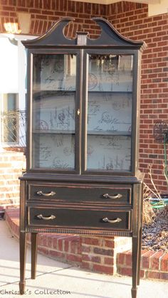 I love the background on the cabinet. Chrissie's Collection - Paint Portfolio ~ China Cabinets