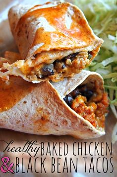 Healthy baked chicken & black bean tacos! Yum great recipe for taco night!
