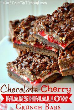 Chocolate Cherry Marshmallow Crunch Bars Recipe - Mom On Timeout