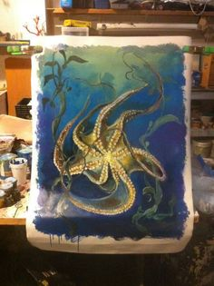 Octopus on canvas