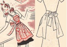 Vintage heart apron