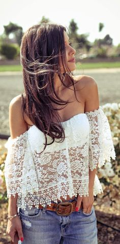 Sexy and romantic lace blouse! So cute with jeans! Women's boho street style fashion for spring Outfits, Lace Tops, Fashion, Style, Closets, Clothing, Summer, Boho