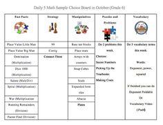 Daily 5 Math Choice Board