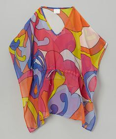 OMG!! Adorbs!!  I see our little hollywood in this and some big glasses, lol!  Orange & Purple Sixties Kaftan - Girls #zulily #zulilyfinds