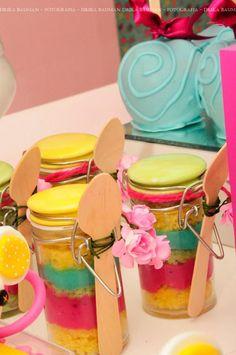 Cute cake in a jar idea! Lalaloopsy party on Kara's Party Ideas karaspartyideas.com
