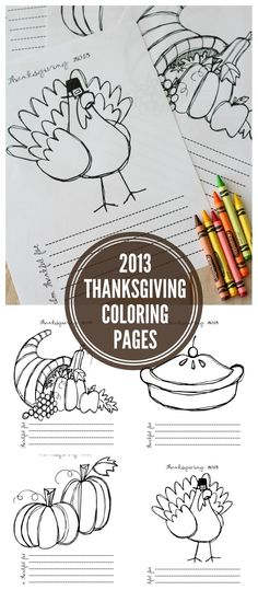 Free Thanksgiving Coloring Pages for the Kids! I love that these also have a place for listing what the kids are thankful for. #thanksgiving #coloringpages