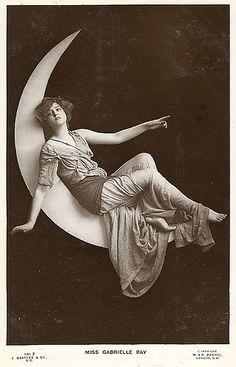 Paper Moon vintag, la luna, paper moon, gabriell ray, papers, ladi luna, imag, ink inspir, art noveau