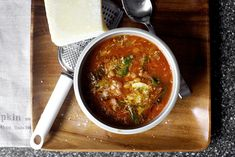 lentil soup with sausage, chard and sizzling garlic | smittenkitchen.com