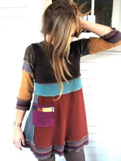 Upcycled Clothing,  tunic SHIRT, Eco Baby doll top, patchwork , 3 quarter length sleeves,  repurposed, color block,   size XS, by Zasra. $65.00, via Etsy.