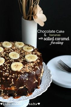 Chocolate Cake & Bananas with Salted Caramel Frosting