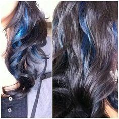 long dark hair with peek a boo highlights | Blue peek-a-boo highlights by Sonia