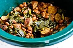 Crockpot Recipe for Sausage, Beans, and Greens