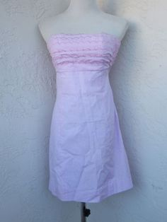 LIlly-Pulitzer-size-2-pink-gingham-strapless-cotton-dress