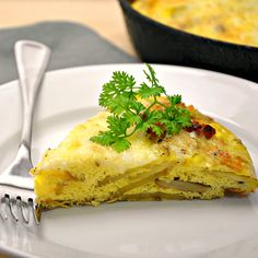 Potato, Peppered Bacon, and Jack Cheese Frittata - Pinch and Swirl #breakfast