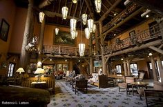 Lake McDonald Montana Lodge  Beautiful historic lobby