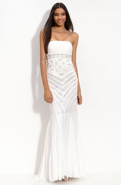 Sue Wong bead and ruffle embellished gown from Nordstroms ($568). A beautiful and relatively cheap wedding dress.