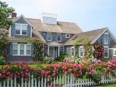 roof, white picket fences, island style, cottage look, climbing roses, long island, dream houses, garden, nantucket style