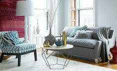 Two-Toned + Textured Living Room brass accessories